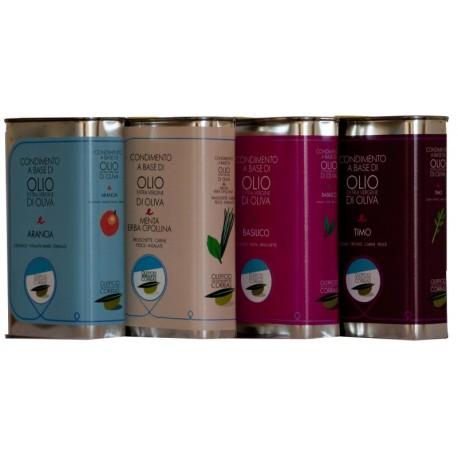 Latta da 500 ml di olio extravergine di oliva aromatizzate, 4 tipologie.